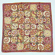SOLD Vintage Ladies GLENTEX Geometric Paisley Scarf Made in Japan Fall & Autumn Colors