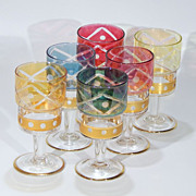 Vintage Mixed Jewel Color Crystal Glass Cut-to-Clear Cordials Liquors Sherry Port Wine Stemwar