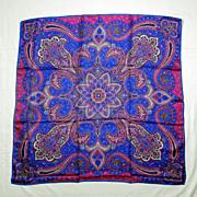 SOLD Vintage VERA NEUMANN 100% Silk Ladies Scarf - Violet & Blue PAISLEY