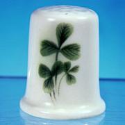SOLD Vintage Irish Donegal Parian Porcelain China SHAMROCK Thimble Ireland (Velvet Boxed)