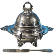 Antique English Silverplate Footed Dome Butter Dish WILLIAM MAMMATT & SONS Sheffield, England