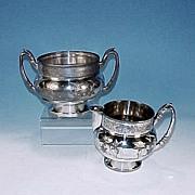 James W. Tufts Quadruple Silverplate Sugar Bowl & Creamer Set Silver Plate