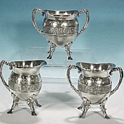 Antique Footed Pairpoint Silverplate Completer Tea Set - Orion & Canis Major Celestial ...