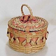 Vintage Native American Indian Basket WALPOLE ISLAND Ash & Curls