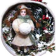 """Miniature Dollhouse 3 1/2"""" Bisque/ Poseable Vintage/ Antique Art Doll in Winter Display/"""