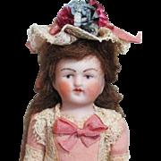 "SOLD 4"" all Bisque Antique German Mignonette Little lady dollhouse doll"