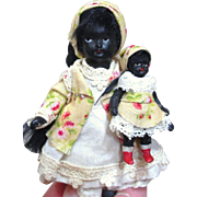 """Lovely 3 1/2"""" all Bisque Black Doll & Tiny 2"""" All Bisque Baby"""
