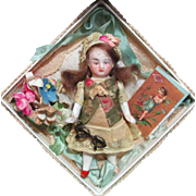 "So Tiny & Cute 3"" All Bisque Miniature Antique Dollhouse doll in Display/ keepsake box"
