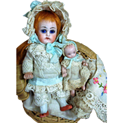 """Precious 4 1/2"""" (Glass eyes, swivel neck) Antique All Bisque German Mignonette & Dolly"""