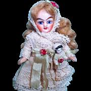 "Sweet 4"" Bisque head (glass eyes, swivel neck) Miniature Dollhouse little doll & dolly"