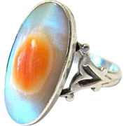 Art Deco Inspired Sterling Silver Blister Pearl Ring - Hallmarked