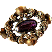 SALE Late Victorian Art Nouveau Influence Amethyst Crystal/Glass Sash Brooch