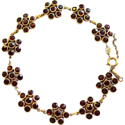 SALE Faceted Spessartite Garnet Gilt Sterling Bracelet Denmark