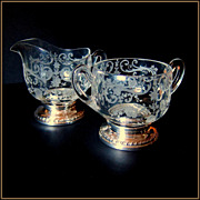 SALE Sheffield Sterling Silver Footed and Etched Depression Glass Sugar and Creamer - Larger .