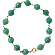 SALE Vintage 14K Yellow Gold and Green Aventurine Bead Bracelet