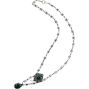 SALE Antique Victorian Sterling Silver Emerald Green Chrysoprase Drop Necklace