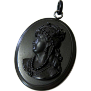 Antique Vulcanite Cameo Pendant with Whitby Jet Bale