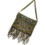 SALE Early Art Deco Cut Steel Micro bead Dress Bag - Flapper Era