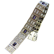 Art Deco Sterling Filigree Amethyst Paste Bracelet – Signed and Hallmarked