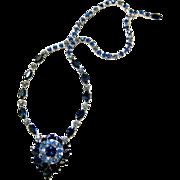 SALE Shades of Blue Kramer of New York Austrian Crystal Sautoir Necklace - Signed