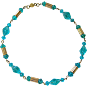Czech Aqua Pressed Glass Etched Brass Bead Necklace