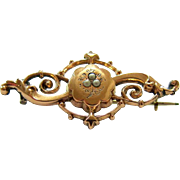 SALE Antique Etched Rose gold Seed Pearl Brooch