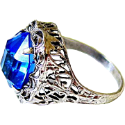 Antique Sterling Filigree Blue Paste Ring