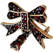 SALE Antique Bohemian Garnet 9KT Rosy Gold Bow Brooch Pin with Drop