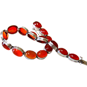 SALE Art Deco Carnelian Agate Sterling Silver Bracelet with Matching Clasp
