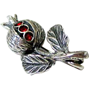 Late Victorian Scottish Sterling Silver Enamel Thistle Brooch - Pin