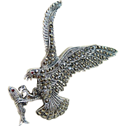 SALE Marcasite Garnet Sterling Silver Eagle Brooch