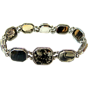 Antique Victorian Cabochon Agate Sterling Bracelet with Matching Clasp