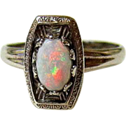 Art Deco 10kt White Gold Opal Ring