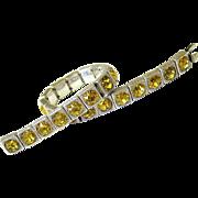SALE Art Deco Faceted Round Cut Canary Diamond Paste Sterling Bracelet