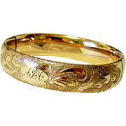 SALE Antique Victorian 10KT Rosy Rolled Gold Etched Bangle Signed