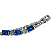 SALE Art Deco Wells Faceted Sapphire Crystal and Clear Paste Sterling Bracelet Signed