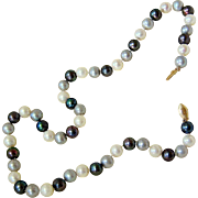 SALE White Peacock and Pale Blue Grey Baroque Pearl Necklace with 14KT Gold Clasp