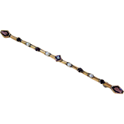 Antique 10 KT Rosy Gold Amethyst paste Seed Pearl bar Brooch  Pin