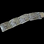 Victorian Ornate Sterling Cannetille Orchid Bracelet