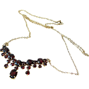 Natural Bohemian Table Cut Garnet 8 KT Yellow Gold Cascade Necklace Signed