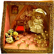 French Wedding Casket With Mignonette Doll And Accessories