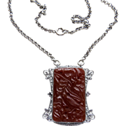 SALE Deco Ostby Barton (Titanic) Sterling Carnelian Glass Necklace