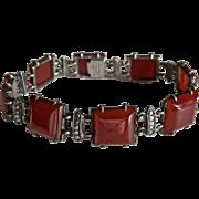 Art Deco Wachenheimer Carnelian Sterling Marcasite Bracelet