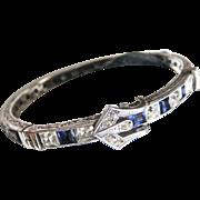 Deco Sapphire/Clear Sterling Buckle Bangle Bracelet