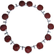 Deco Carnelian Wachenheimer Sterling Marcasite Necklace