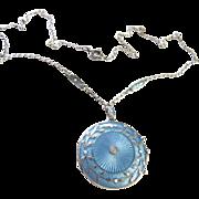Edwardian Guilloche Enamel Sterling Locket Necklace