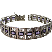 Art Deco Sterling Filigree Amethyst Paste Bracelet