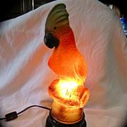 SALE Art Deco Tiffin Parrot Lamp Glass
