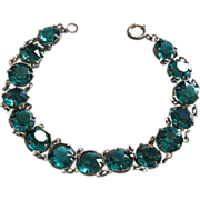 Art Deco Sterling Teal Crystal Bracelet