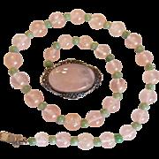 Art Deco Rose Quartz Sterling Germany Necklace